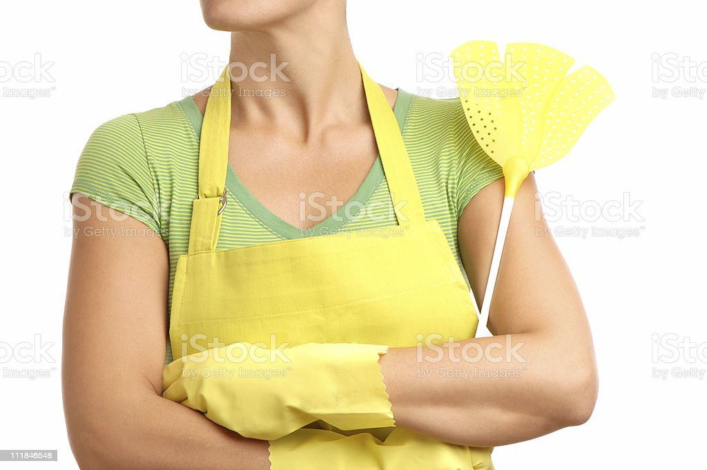 Housewife in Apron with Fly Swatter Isolated on White Background stock photo