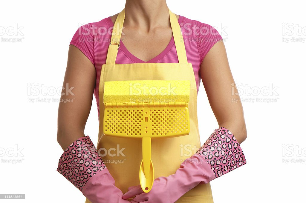 Housewife Maid with Mop and Leopard Print Gloves on White royalty-free stock photo