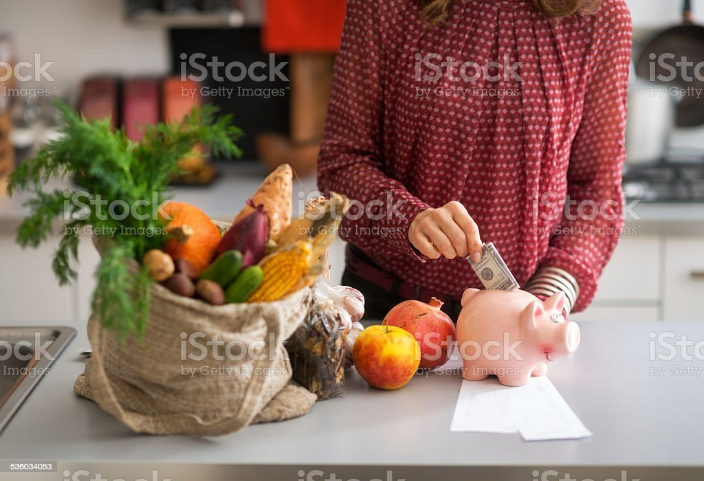 Housewife putting money into piggy bank after shopping. Closeup stock photo