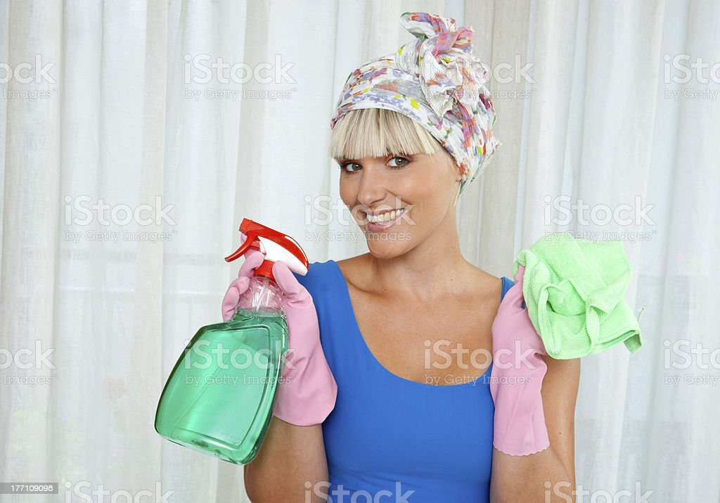 housewife ready for cleaning royalty-free stock photo