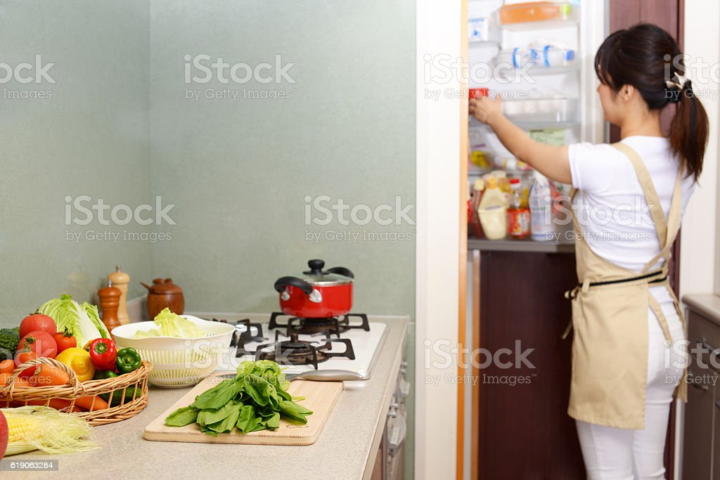 Housewife who enjoys cooking stock photo