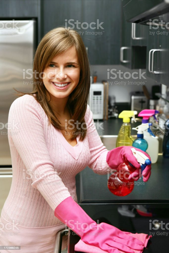 Housewife with cleaning products Housewife with cleaning products http://www.lisegagne.com/images/casual.jpg Adult Stock Photo