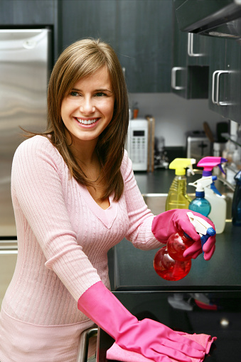 Housewife With Cleaning Products Stock Photo - Download Image Now