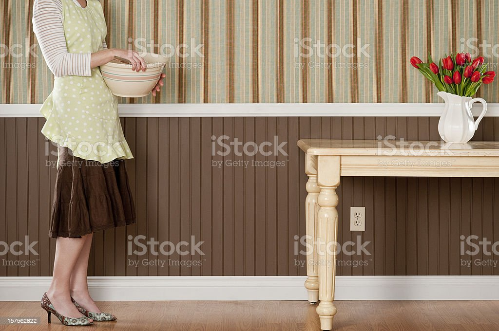 Housewife With Mixing Bowl stock photo