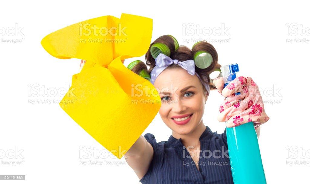 Housewife with rag stock photo