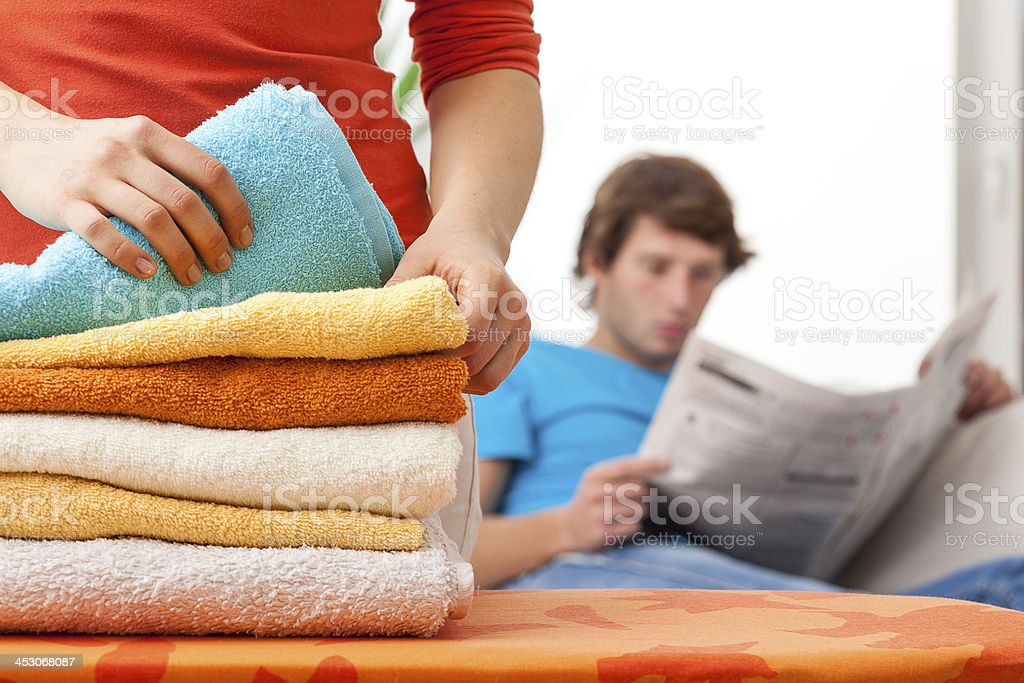Housewife working hard stock photo