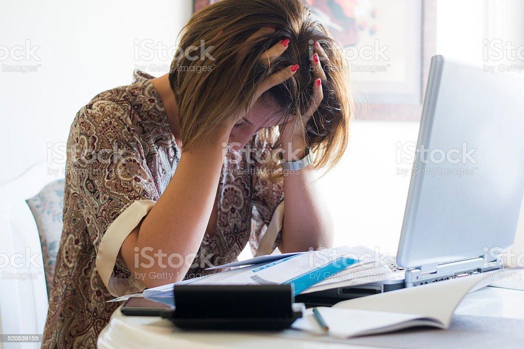 Housewife worried stock photo