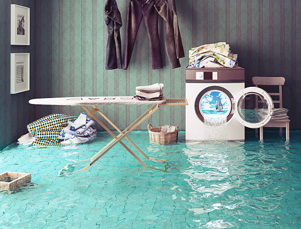 housework dreams. - flooded room stock photos and pictures