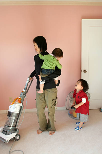 Housework with babys stock photo
