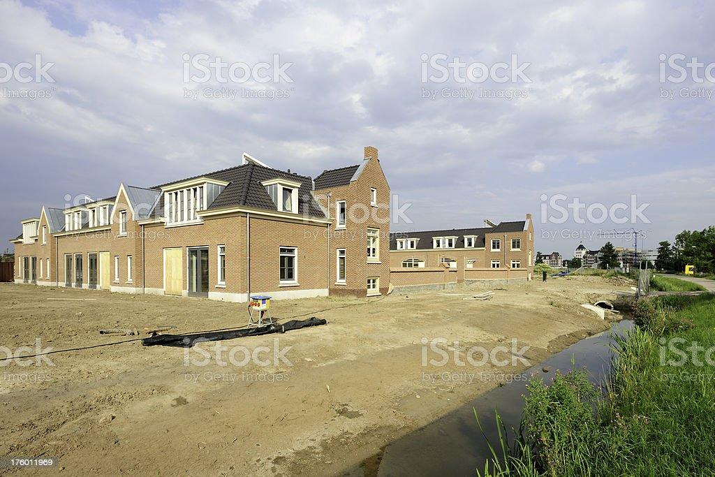 Housing construction site in the Netherlands stock photo