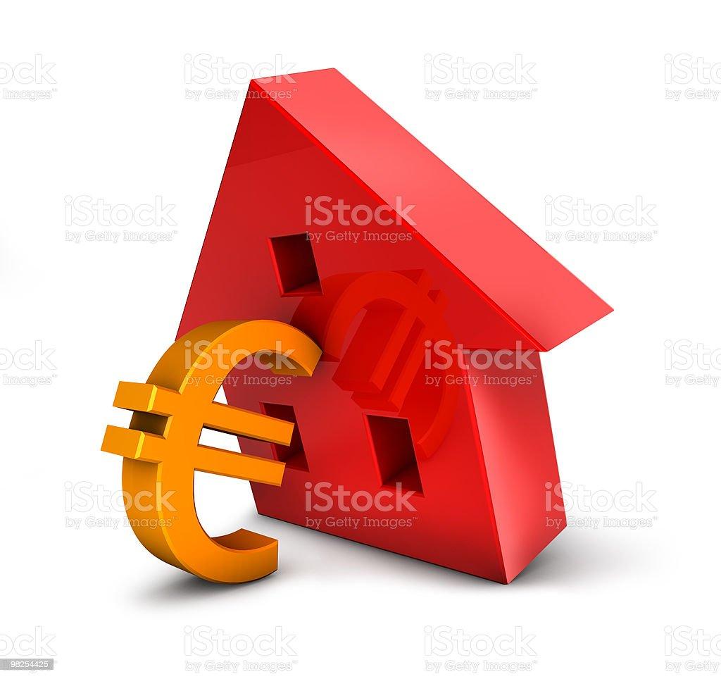 Alloggiamento crisi Simbolo dell'Euro foto stock royalty-free