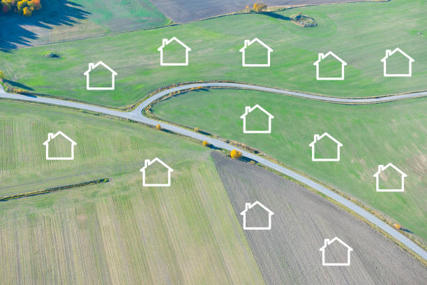 Housing development, from farmland stock photo
