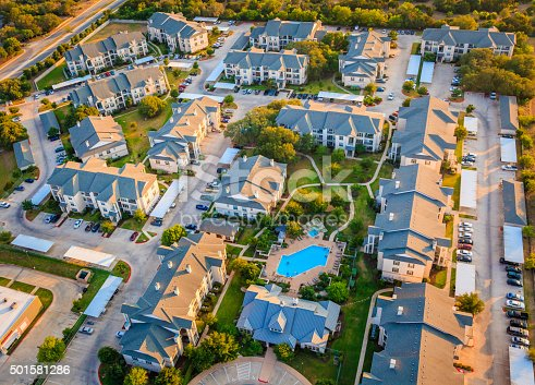 istock Housing development townhouse apartment complex neighborhood aerial view, Austin Texas 501581286
