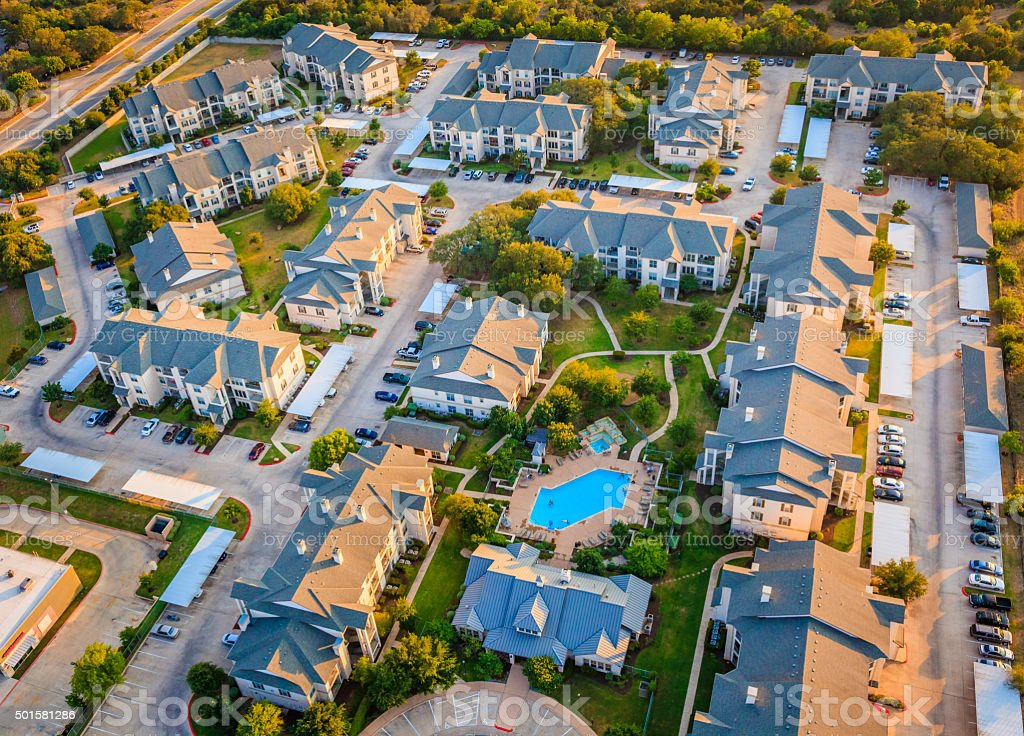 Housing development townhouse apartment complex neighborhood aerial view, Austin Texas stock photo