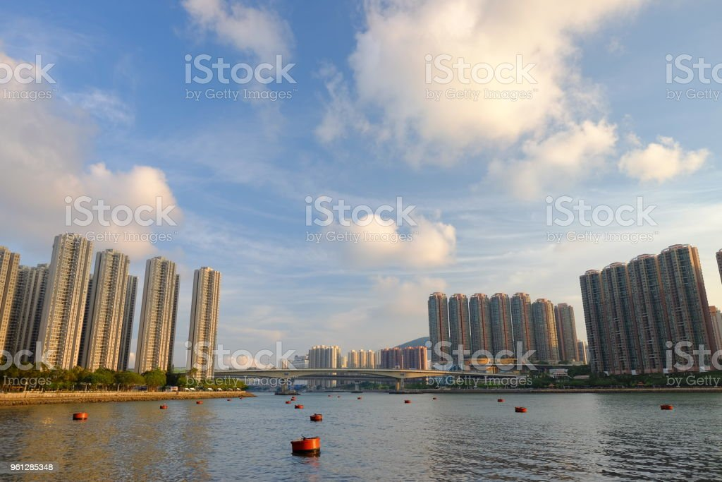Housing in Hong Kong near the sea with blue sky stock photo
