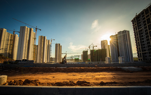 Housing project in a construction site