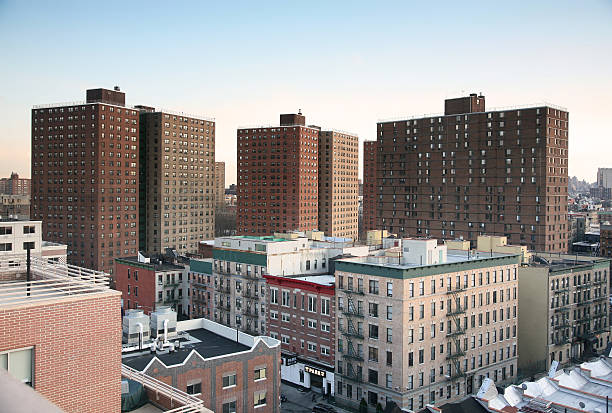 housing project in harlem, high angle view - council flat stock photos and pictures