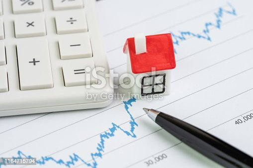915688450 istock photo Housing, property or real estate price analysis or calculation concept, miniature house on blue up rising graph with pen and calculator 1164715794