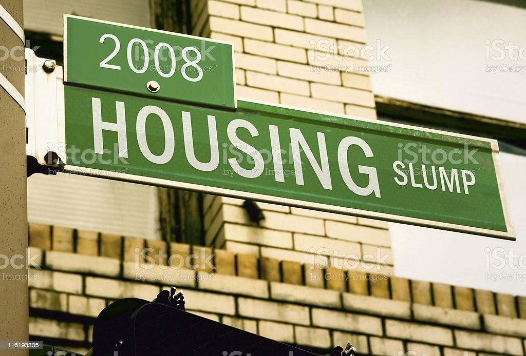 Housing Slump Road Sign stock photo