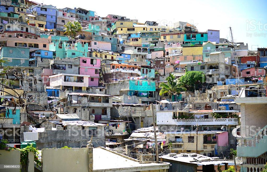 Housing stacked Port-Au-Prince, Haiti. stock photo