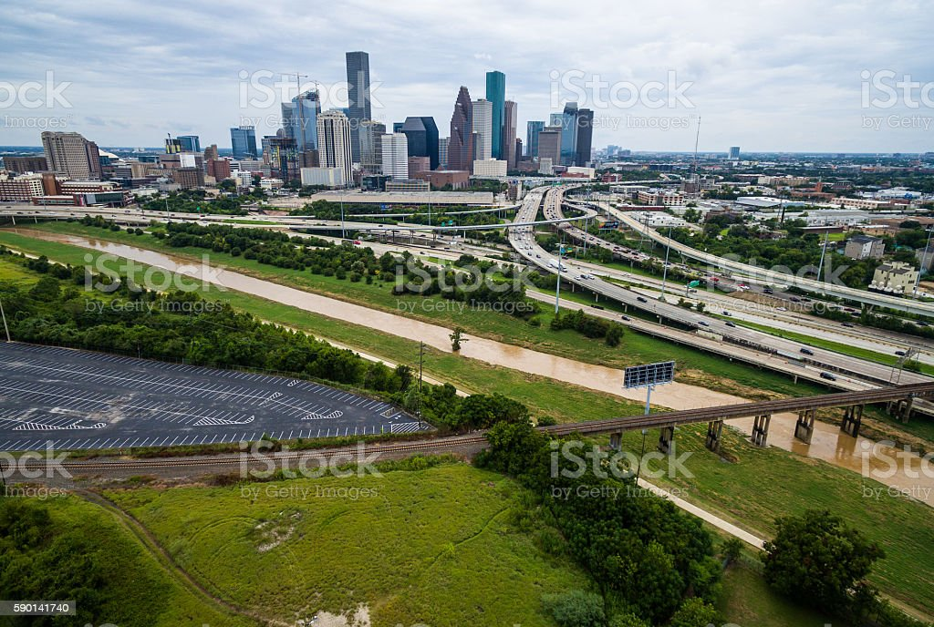 Houston aerial over Buffalo Bayou daytime skyline stock photo