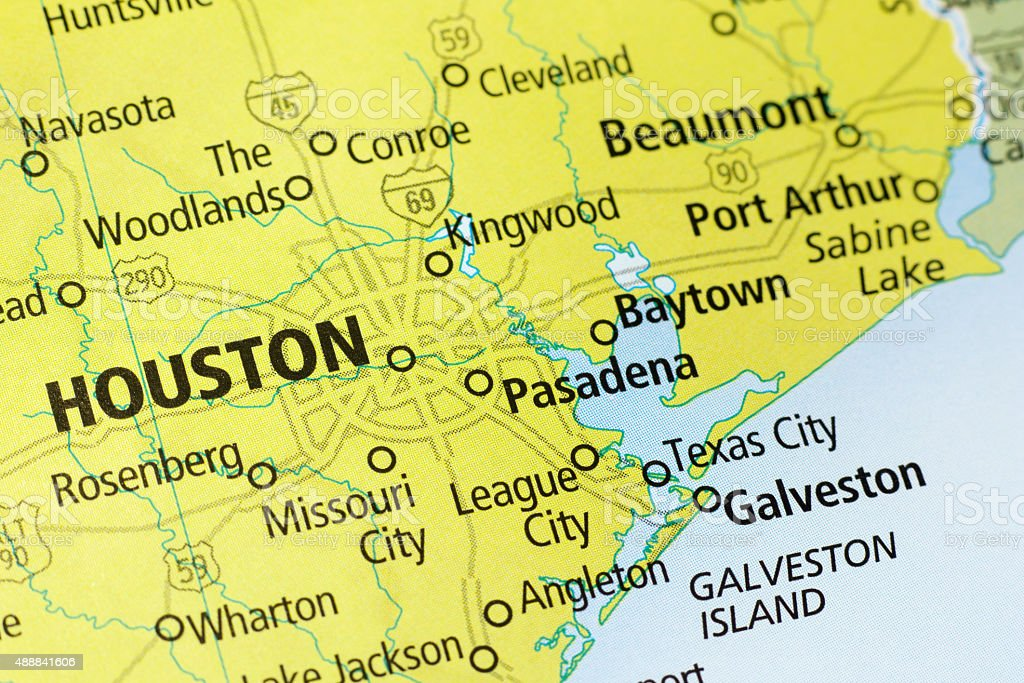 Houston Area On A Map Stock Photo & More Pictures of 2015   iStock