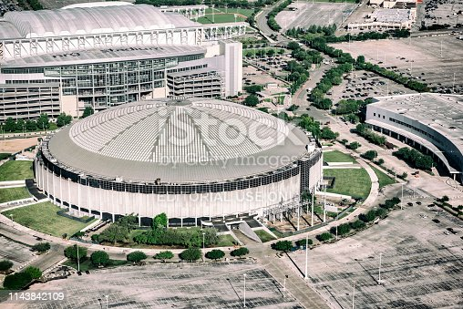 Houston, United States - April 10, 2019: The now defunct Houston Astrodome, once known as the