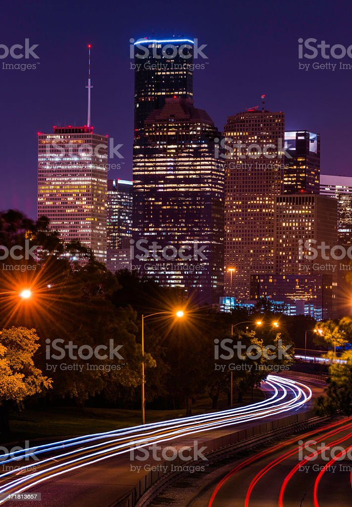 Houston cityscape at night with traffic stock photo