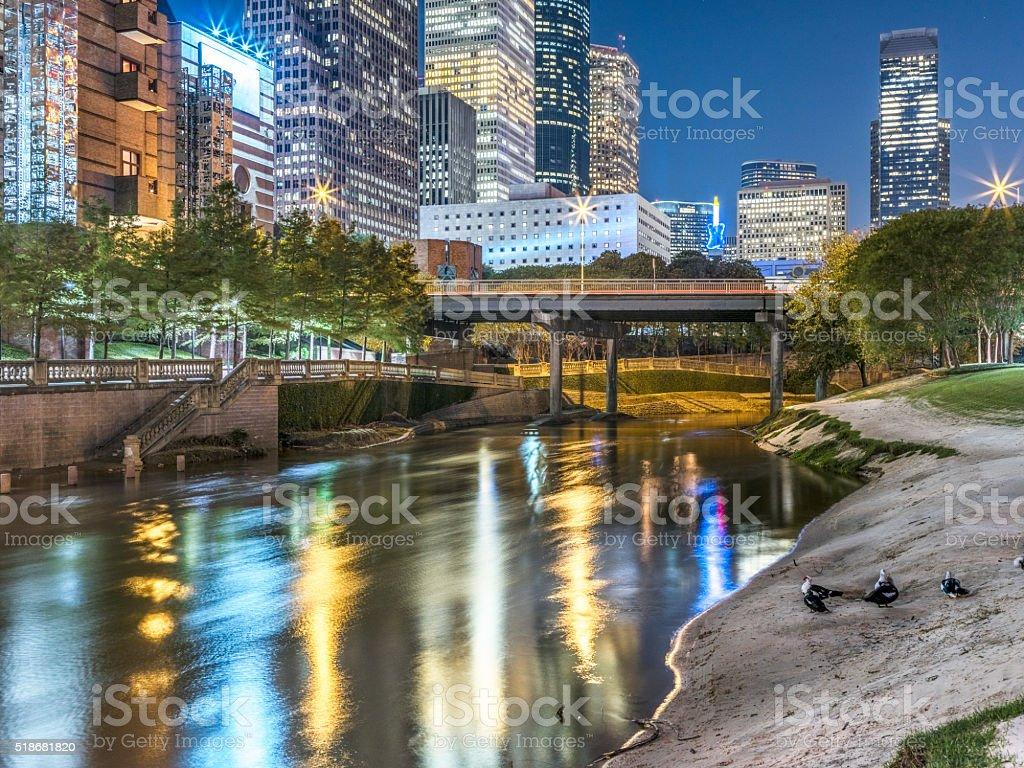Houston downtown at night stock photo