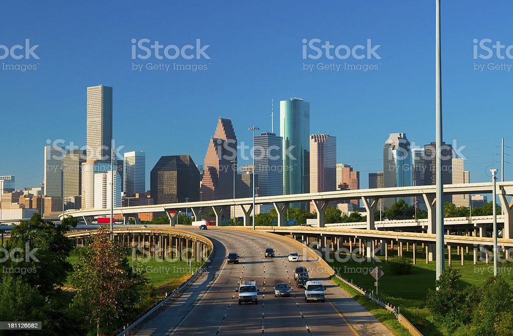 Houston downtown skyline at morning stock photo