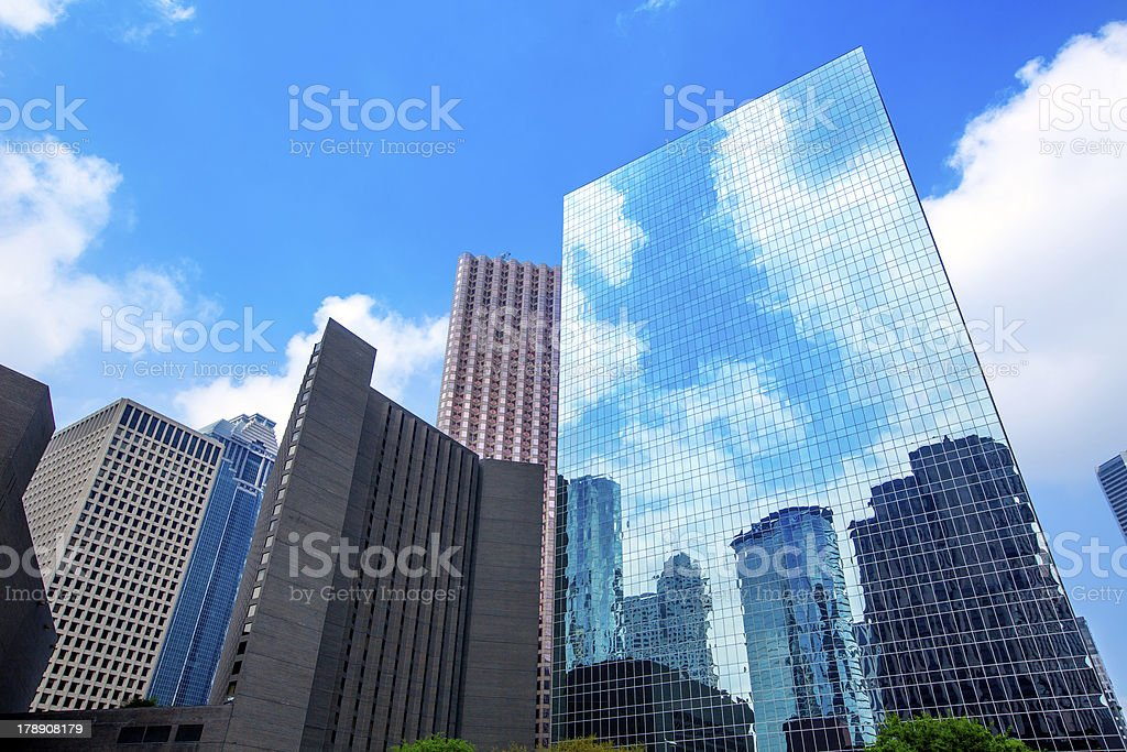 Houston downtown skyscrapers disctict blue sky mirror royalty-free stock photo
