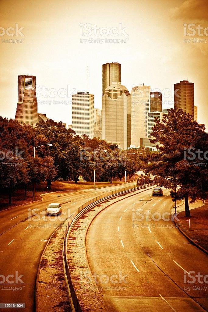 Houston, Highway and Skyline royalty-free stock photo