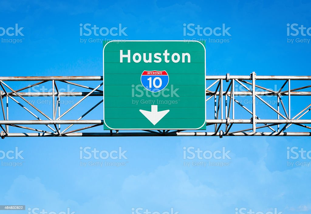 Houston Interstate 10 Sign stock photo