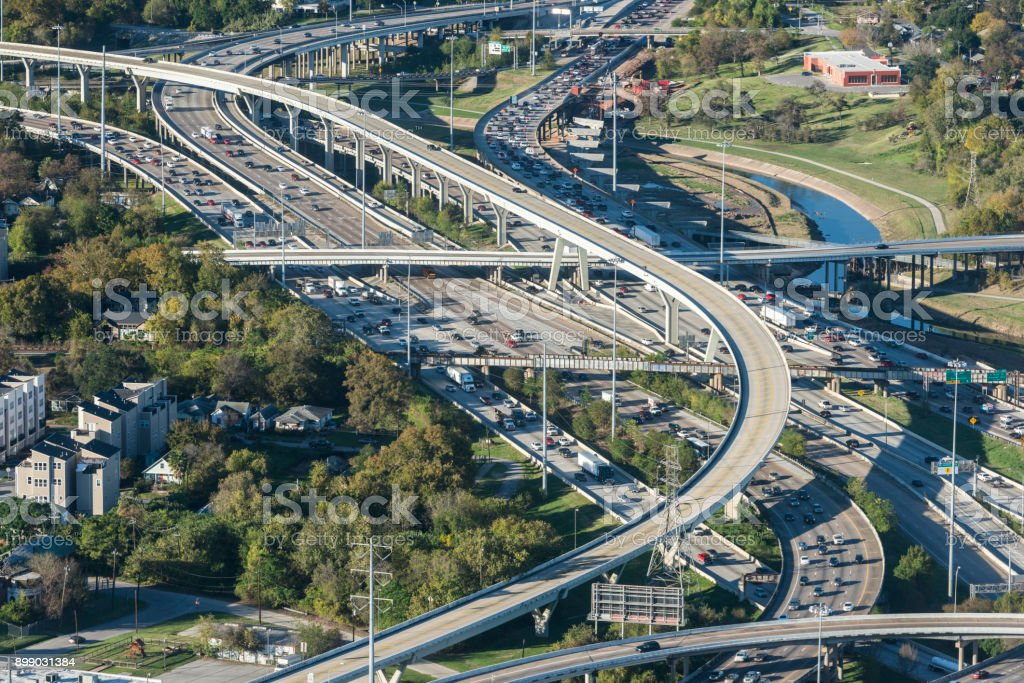 I10 I45 Houston interstate freeway intersection stock photo