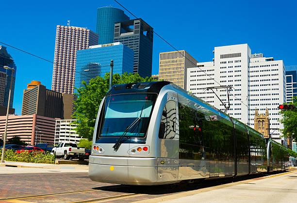 Houston METRORail light rail train stock photo