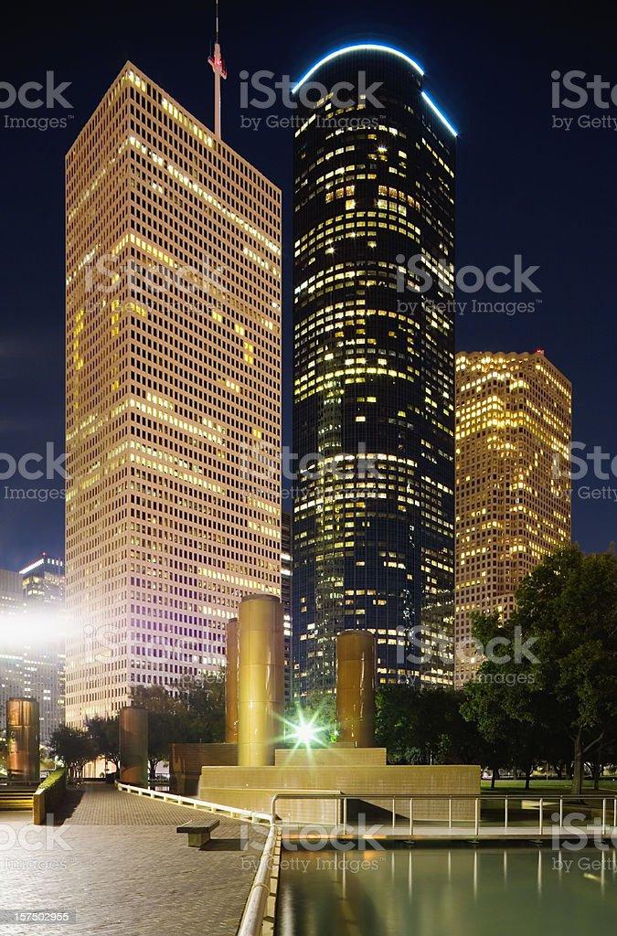 Houston nighttime cityscape royalty-free stock photo