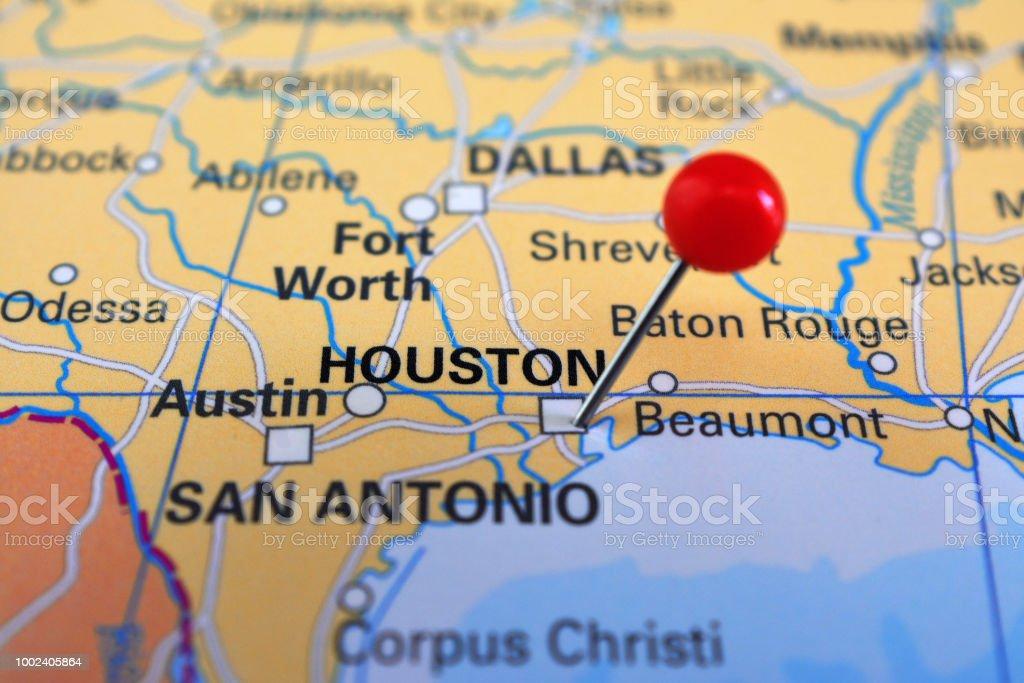 Houston On Map Texas Eua Stock Photo - Download Image Now ...