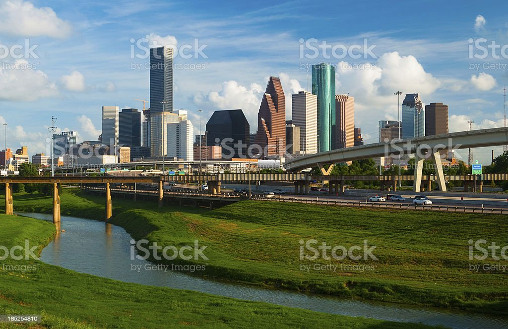 Houston skyline, freeway, and river stock photo