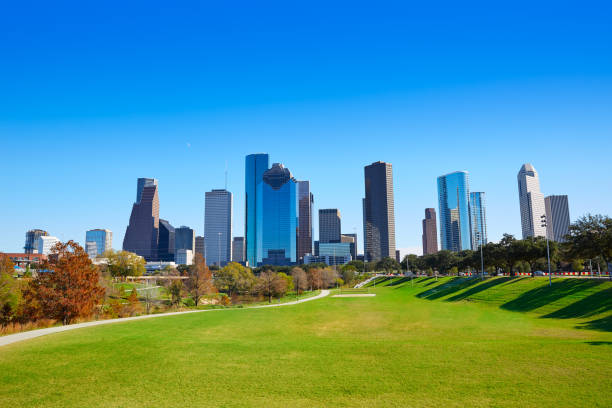 Houston skyline in sunny day from park grass stock photo