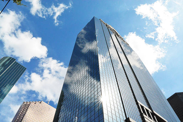 houston skyscrapers, financial district of midtown houston texas - stock image skyscraper, building exterior, city, urban skyline, built structure - deign stock pictures, royalty-free photos & images