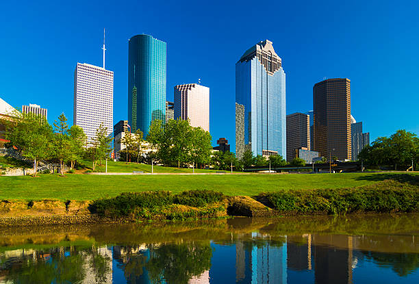 Houston skyscrapers with Buffalo Bayou river stock photo