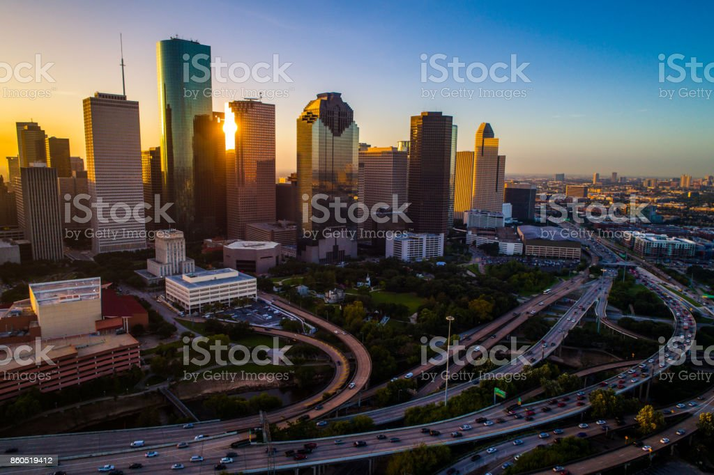 Houston Texas aerial drone sunrise view cityscape skyline colorful morning downtown stock photo