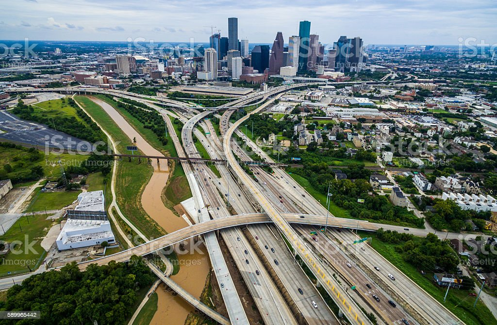 Houston Texas Aerial Over Passing Interchanges Cityscape stock photo