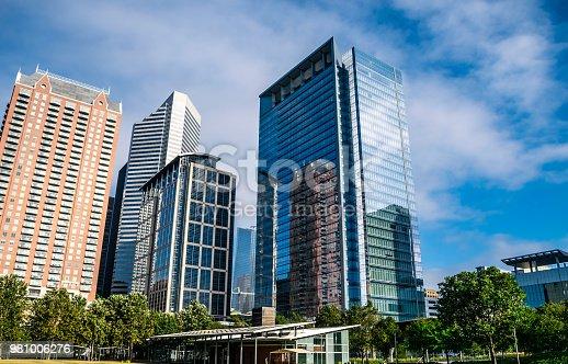 542727462 istock photo Houston Texas Skyline Cityscape Massive modern building rise in green park 981006276