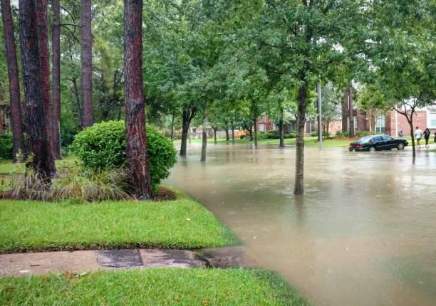 Houston, Texas suburban street flooded by Hurricane Harvey stock photo