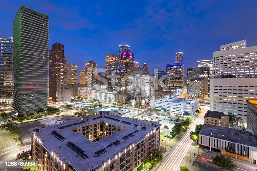 Houston, Texas, USA downtown cityscape at dusk in the financial district.