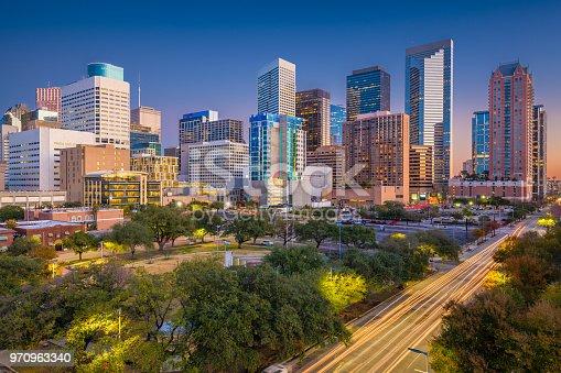 Houston, Texas, USA downtown park skyline at twilight.