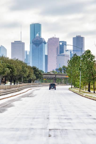 Houston Texas Winter Storm stock photo