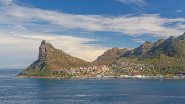 Hout Bay From Chapmans Peak Hout Bay and The Sentinel as seen from Chapman's Peak Drive, Cape Peninsula, South Africa. hout stock pictures, royalty-free photos & images