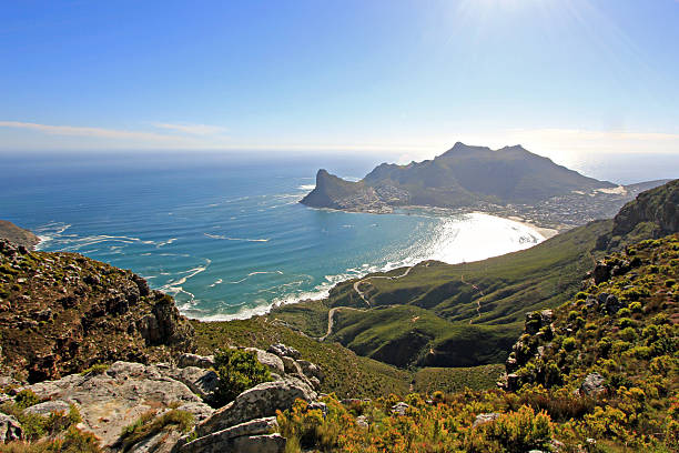 Hout Bay from Silvermine Nature Reserve Hout Bay from Silvermine Nature Reserve hout stock pictures, royalty-free photos & images